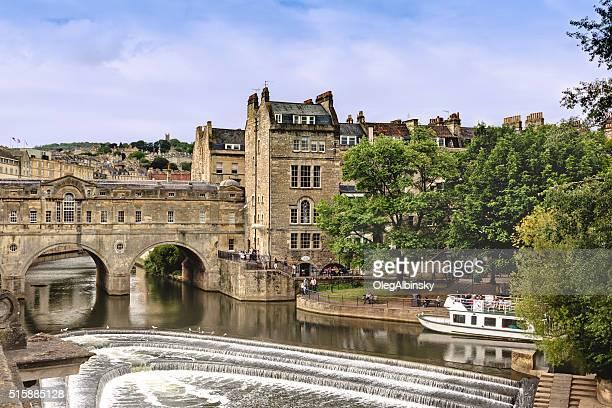 Historic Bridge and River Avon, Bath, Somerset, England, United Kingdom.