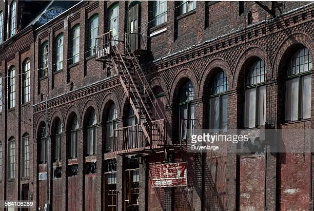 Historic building detail in warehouse district Bridgeport Connecticut