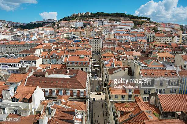 Historic buildings and rooftops in central Lisbon