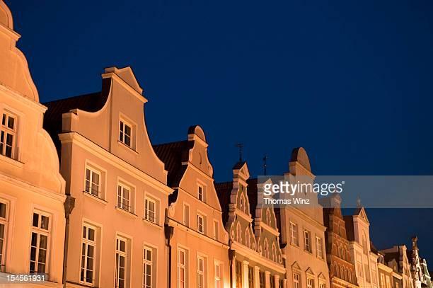 Historic buildings at night