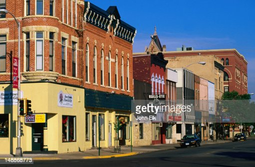 Historic buildings in the former port town of Winona : Stock Photo