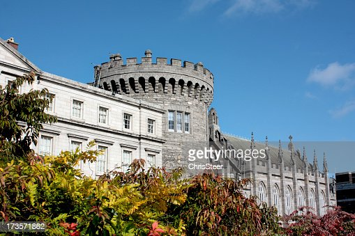 Historic castle in Dublin surrounded by plants and flowers