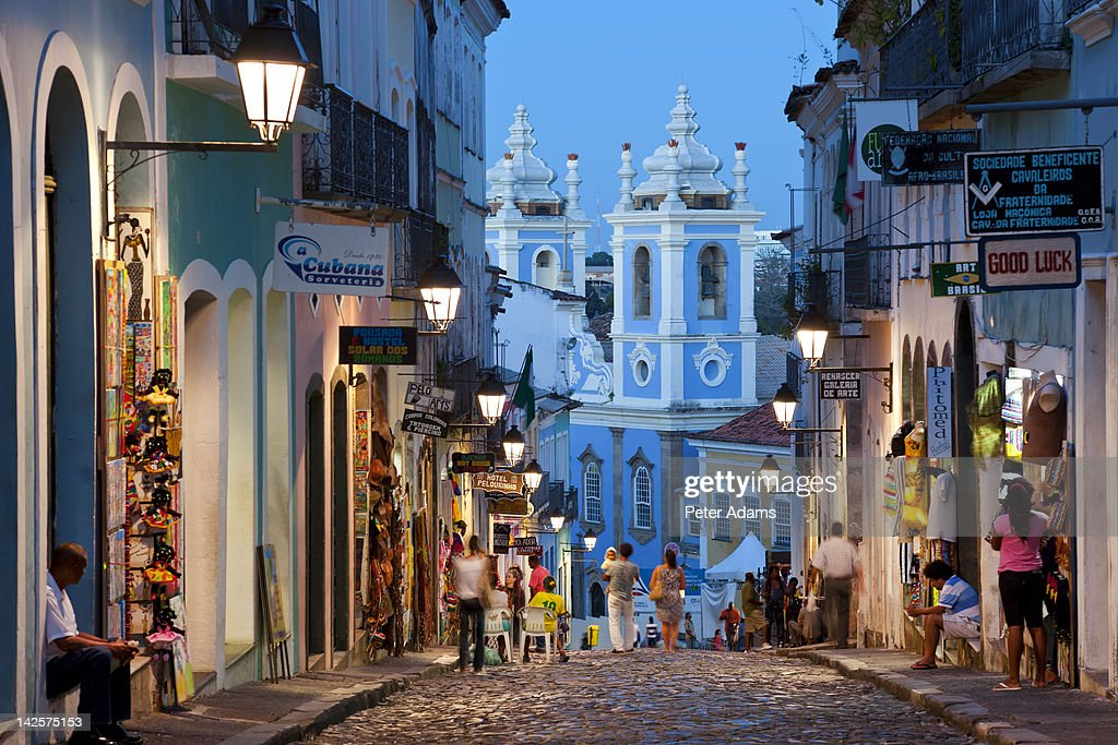 Historic Centre At Dusk, Salvador, Bahia, Brazil : Stock Photo