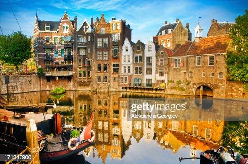 Historic cityscape of Delfshaven, Rotterdam