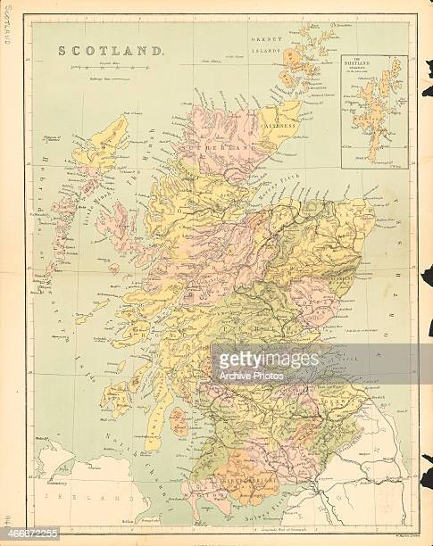 Historic color map of Scotland part of the British Isles by W Hughes Great Britain circa 18501870