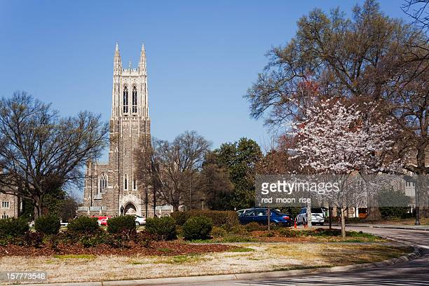 Historic Duke University campus in the spring