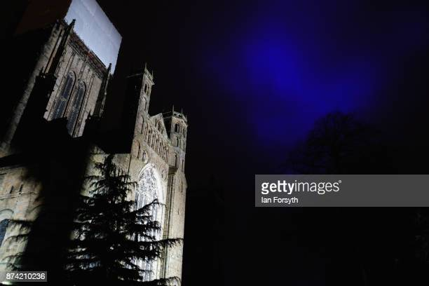 Historic Durham Cathedral is illuminated by a light installation titled 'Methods' by artist Pablo Valbuena during a media preview evening ahead of...