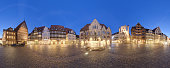 Historic market place in the old city of Hildesheim Germany. 360 degree panorama.