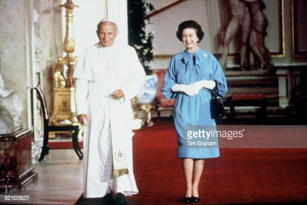 Historic Meeting Pope John Paul II Head Of The Catholic Church Visiting The Queen Head Of The Church Of England At Buckingham Palace