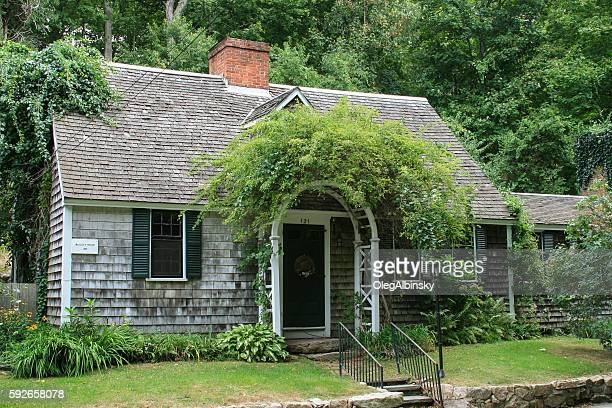Historic New England House Among Trees, Sandwich, Massachusetts, USA.