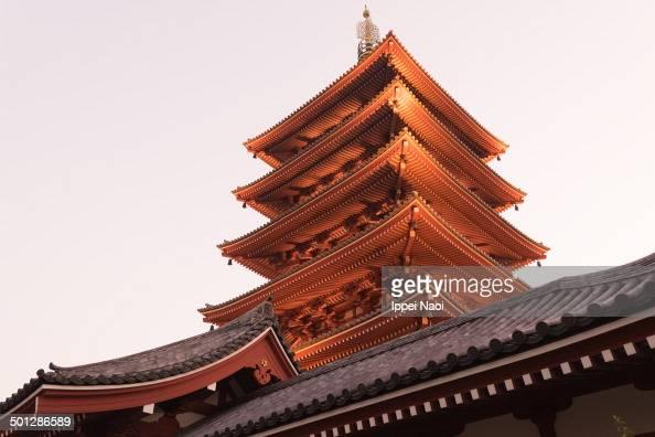 CONTENT] Historic old Japanese temple at dusk Sensoji Asakusa Tokyo