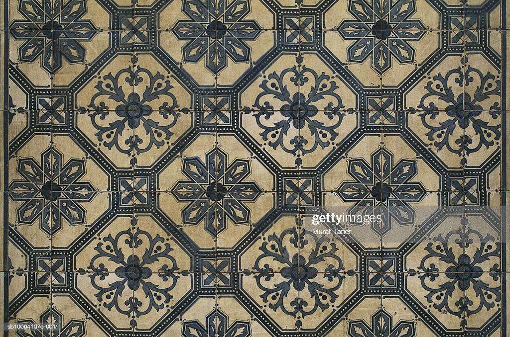 Historic Portuguese tiles on wall, full frame : Stock Photo