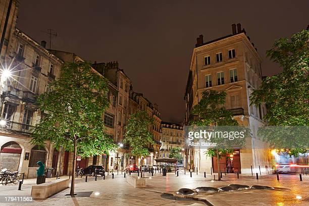 Historic quarter of Bordeaux at night