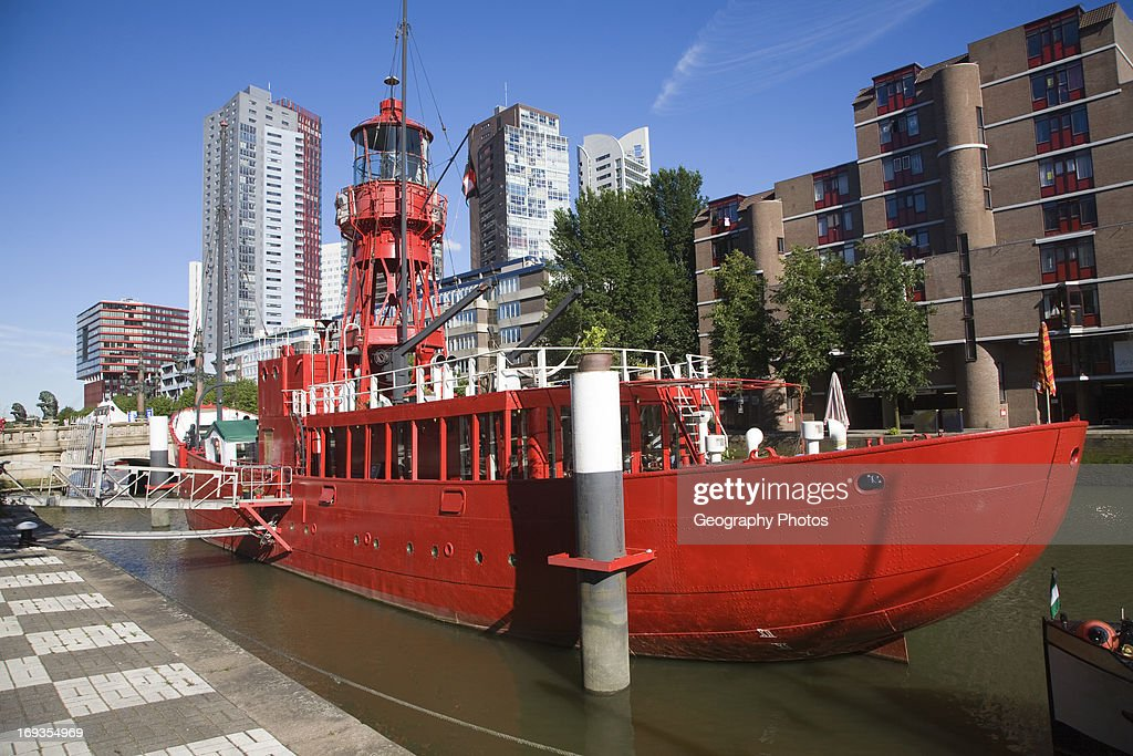 Modern Architecture Netherlands historic red lightship floating restaurant and modern architecture
