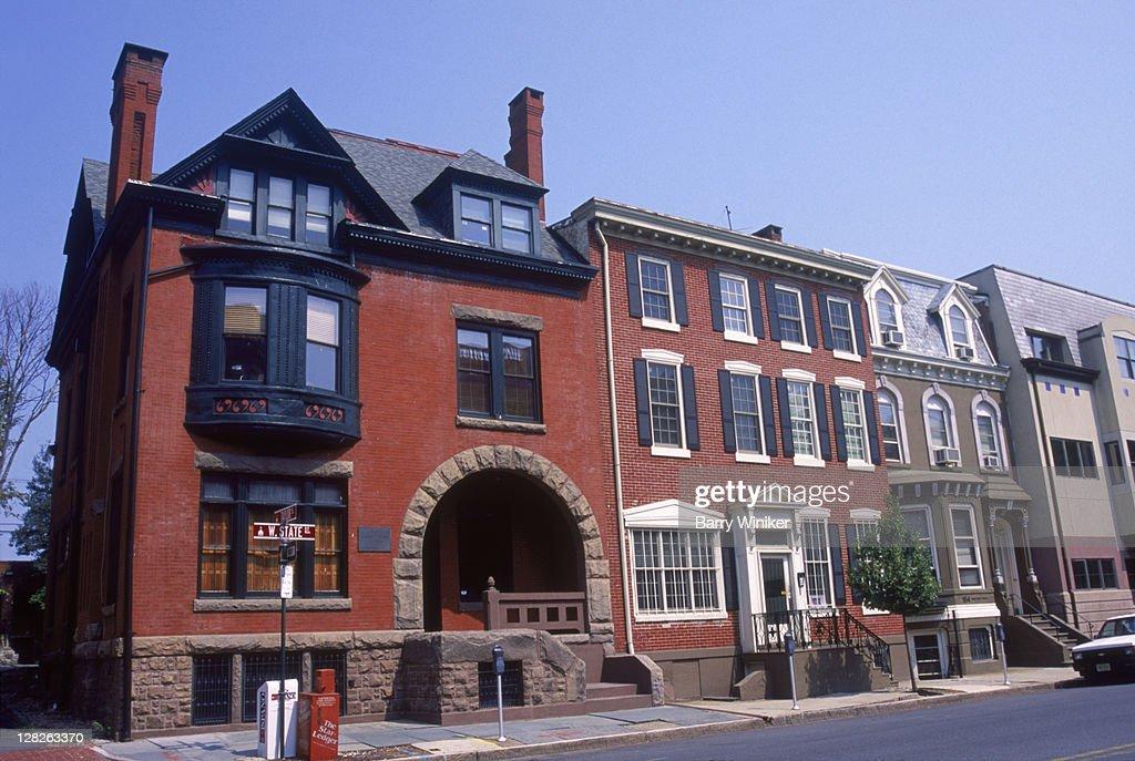 Historic residences, W. State Street, Trenton, NJ : Stock Photo