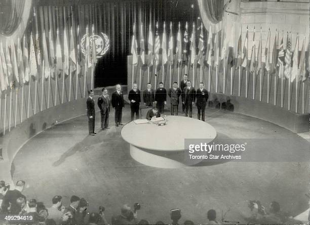 Historic Room where the United Nations security charter was signed is seen in this general view with members of the Chinese delegation lined up while...