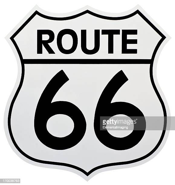 Historic Route 66 Shield Shaped Sign.  Isolated with Clipping Path.