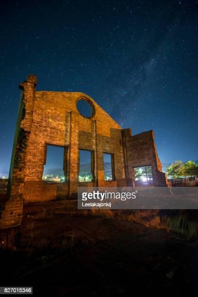 Historic ruin with starscape