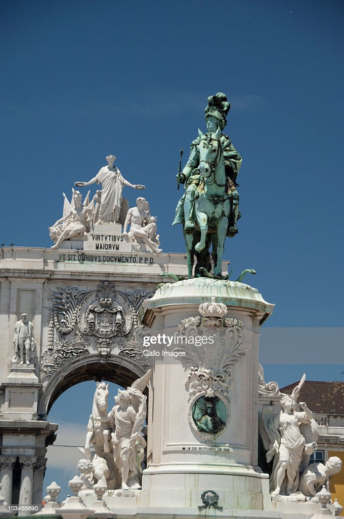 Historic statue of King Jose I, Black Horse Square, Baixa quarter, Lower Town, Lisbon, Portugal : Stock Photo