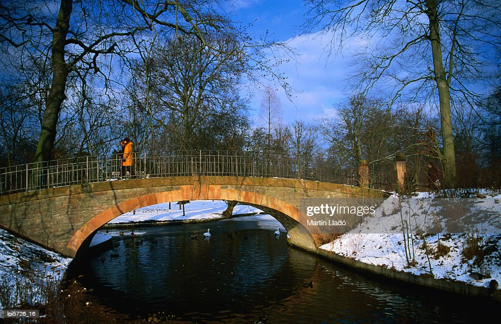 Historic stone bridge in Frederiksberg Have, Copenhagen, Denmark, Europe : Stock Photo
