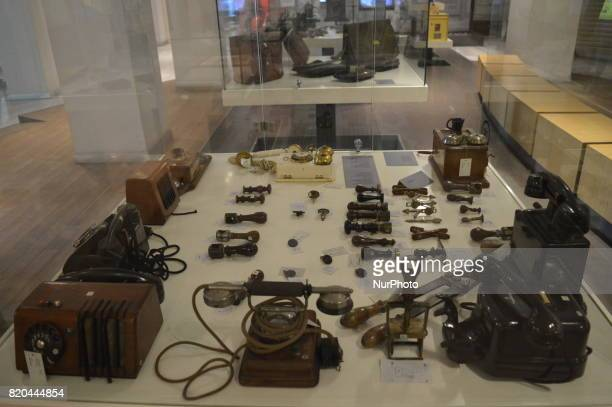 Historic telephones and handset receivers are seen at the PTT Stamp Museum in Ankara Turkey on July 21 2017