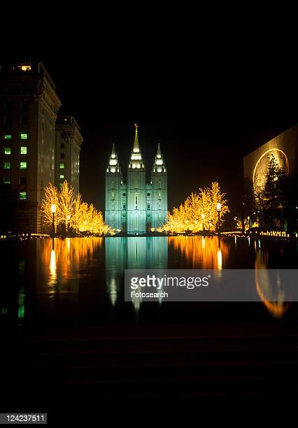 Historic Temple and Square in Salt Lake City at night