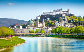 Beautiful view of Salzburg skyline with Festung Hohensalzburg and Salzach river in summer, Salzburg, Salzburger Land, Austria.