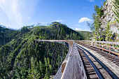 Originally one of 19 wooden railway trestles built in the early 1900s in Myra Canyon, BC, the place is now a public park with biking and hiking trails.Originally one of 19 wooden railway trestles buil