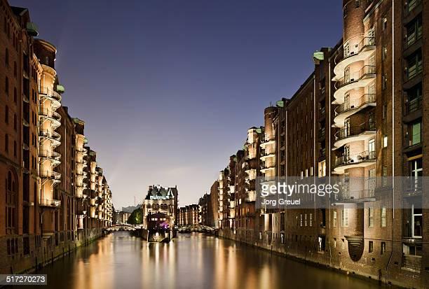 Historic warehouses at dusk