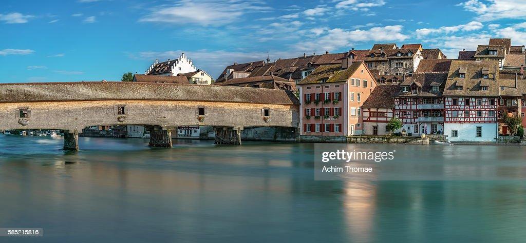 Historic wooden bridge between Germany and Sitzerland