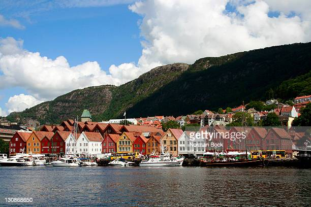 Historic wooden houses in Bryggen, Vagen harbor quay, Bergen, Norway, Scandinavia, Europe