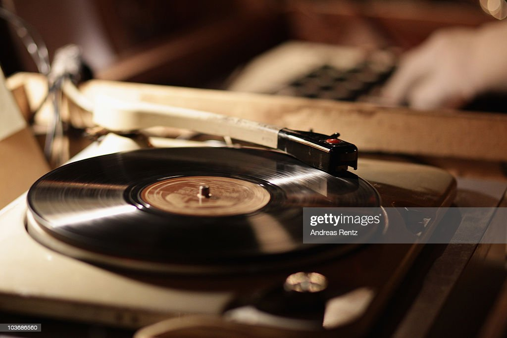 A historical acetate disc on a recordplayer is pictured at the Charming Salon party at the Berlin Story Salon on August 27 2010 in Berlin Germany...
