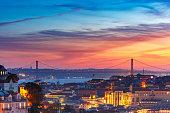 Tagus River and 25 de Abril Bridge at scenic sunset, Lisbon, Portugal