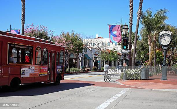 Historical Downtown Santa Barbara With Trolley