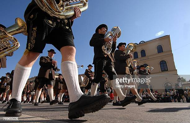 A historical dressed brass band participates at the Costume and Riflemen's Parade on September 2007 in Munich Germany The costume and riflemen's...