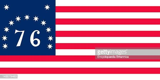 Historical Flag Of The United States Of America The Bennington Or '76' Flag Was Probably Flown At The Battle Of Bennington Aug 1777