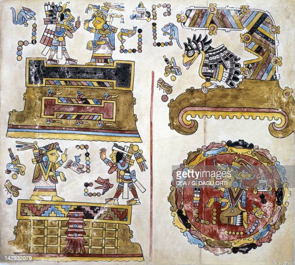 Historical genealogical scene sent from Mexico by Hernan Cortes to Charles V in 1519 a copy of the Code of Vienna or Vindobonense Mexico Mixtec...