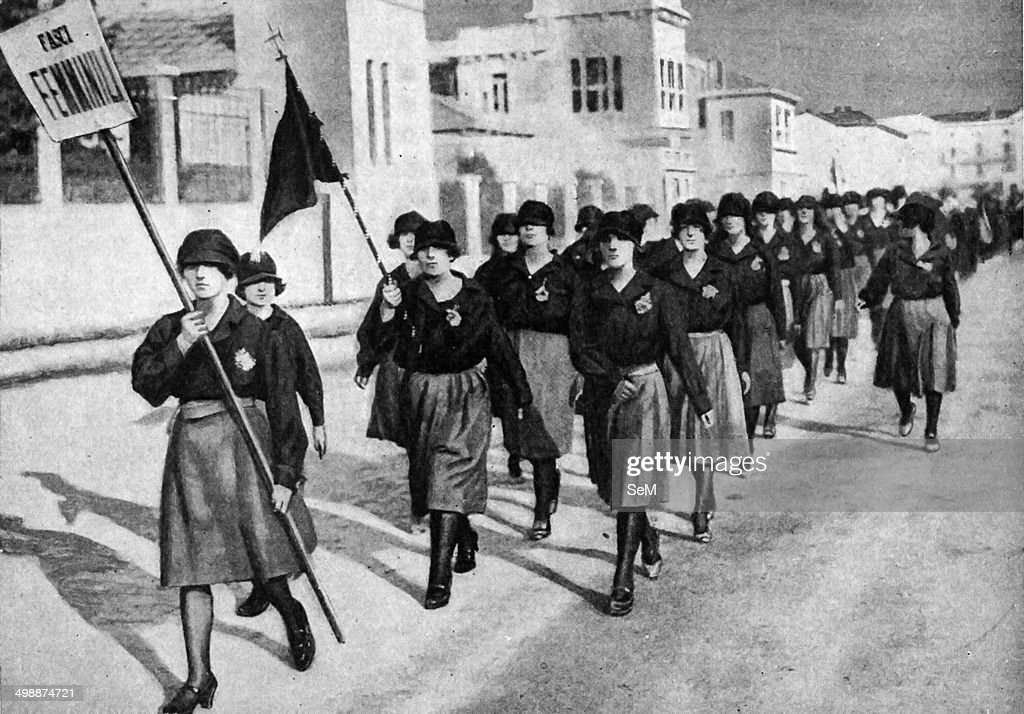 Historical Geography. 1920. Italy. Women fascisti on parade ...