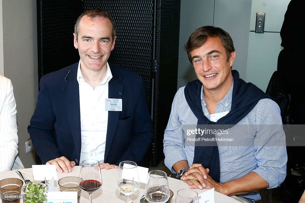 Historical Journalist Franck Ferrand and autor Olivier Bourdeaut attend the 'France Television' Lunch during the 2016 French Tennis Open - Day Six at Roland Garros on May 27, 2016 in Paris, France.