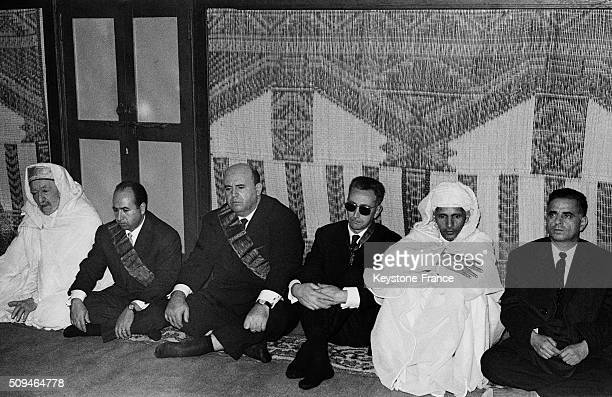 Historical Leader Of the National Liberation Front Krim Belkacem 2nd From Left And Mohammedi Said Colonel Of National Army Of Liberation 3rd From...