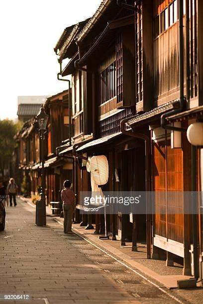 Historical old town at sunset in Kanazawa, Japan