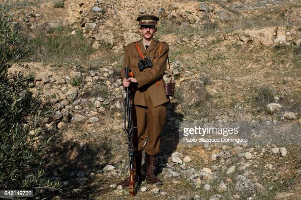 Historical reenactor Christian Rodriguez dressed as a Republican lieutenant poses for a portrait before a reenactment of the Battle of Jarama to mark...