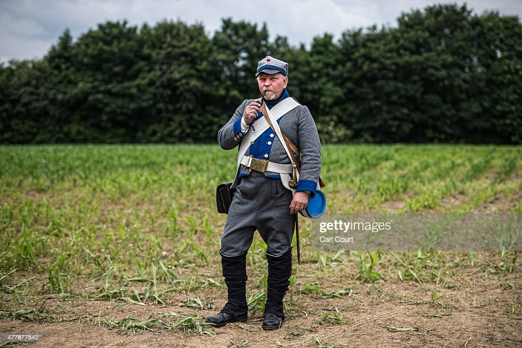 A historical re-enactor from Finland poses for a photograph in his role as a Swedish Private in the Nyland Regiment of Foot ahead of the second part of a large scale re-enactment of the battle of Waterloo, to mark it's bicentenary on June 20, 2015 in Waterloo, Belgium. Around 5000 historical re-enactors will amass over two evenings to re-enact the two stages of the battle in front of around 200,000 spectators from around the world. The first evening will see the 'French Attack', followed on the next day by the 'The Allied Counter attack'. The events will mark the battle of 1815 which saw the overthrow of Napoleon Bonaparte and the restoration of Louis XVIII to the French throne.