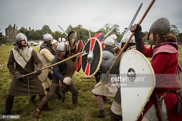 Historical reenactors practice ahead of a reenactment of the Battle of Hastings on October 15 2016 in Battle England Reenactors have gathered on the...