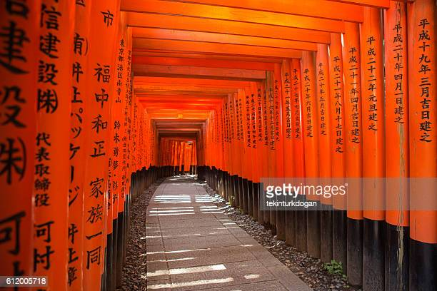 Historical Senbon-torii gates on way to Fushimi-Inari temple  kyoto japan