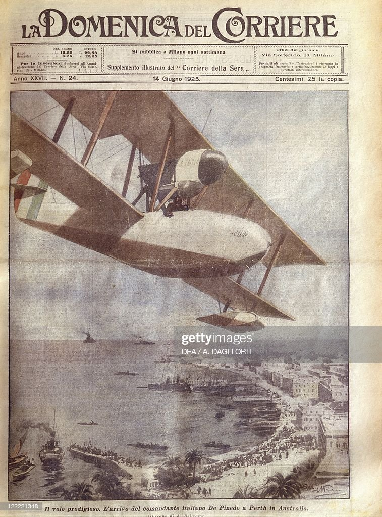 History 20th century Italian flyer Francesco de Pinedo arrives at Perth Cover illustration from La Domenica del Corriere Sunday supplement to Italian...