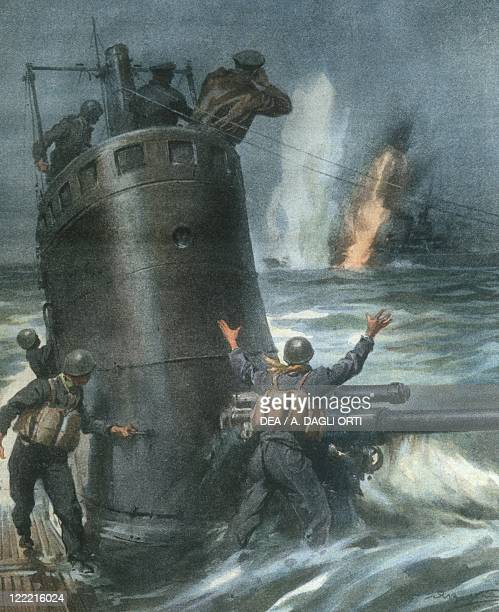 History 20th century World War II British destroyer is sunk by Italian submarines in the Atlantic Ocean November 24 1940 Cover illustration from La...