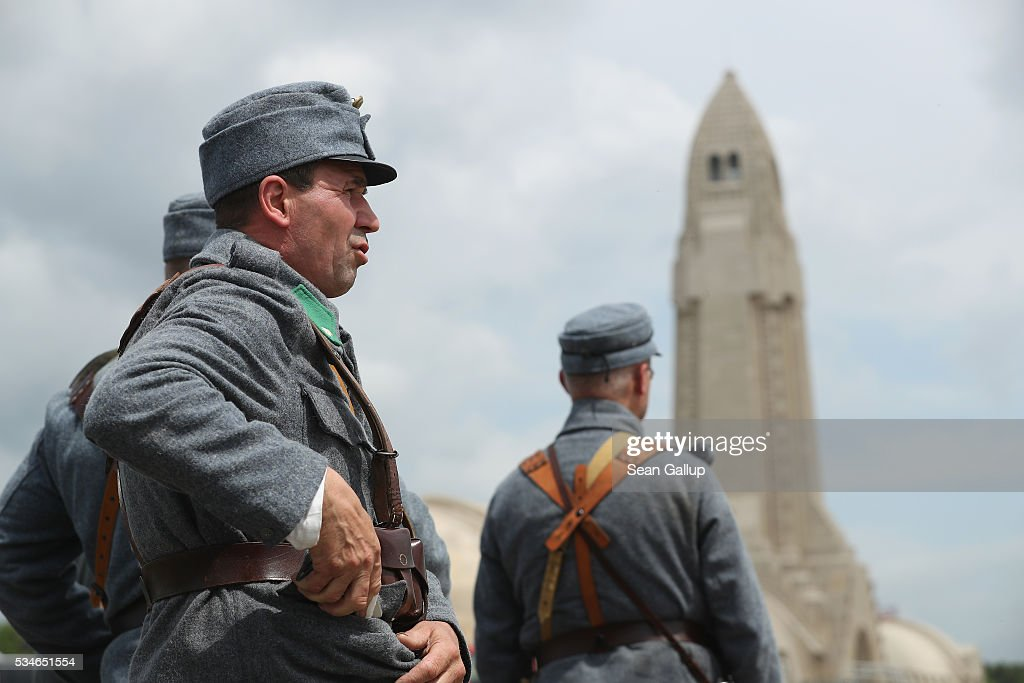 History buffs from Poland wearing World War I military uniforms of the Austro-Hungarian army arrive at the ossuary of Douaumont at the Verdun World War I battefield site on May 27, 2016 in Verdun, France. The governments of France and Germany will commemorate the 100th anniversary of the battle with ceremonies this coming Sunday. Approximately 300,000 soldiers lost their lives in the 10-month campaign that was among the most grueling battles of the war.