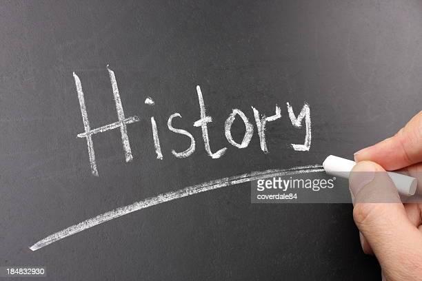Storia di gesso sulla lavagna testo