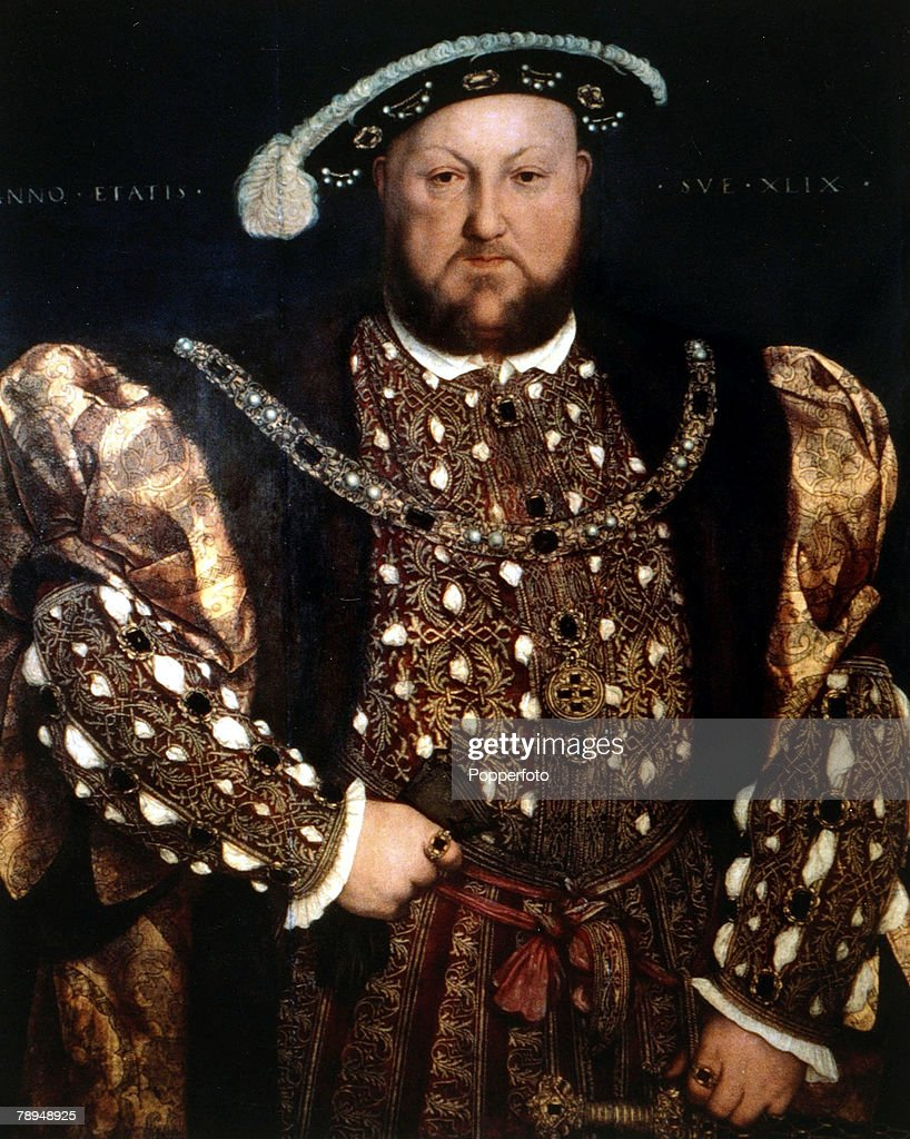 History Illustration, English Royalty, pic: circa 1520, King Henry VIII (1491-1547) who reigned 1509-1547, pictured in this portrait painted by Holbein, Henry VIII was famous for his 6 wives and his break with the Roman Catholic Church in Rome